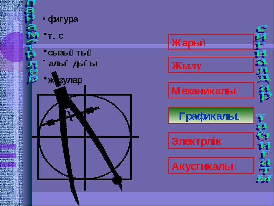 Графикалық фигура түс сызықтың қалыңдығы жазулар