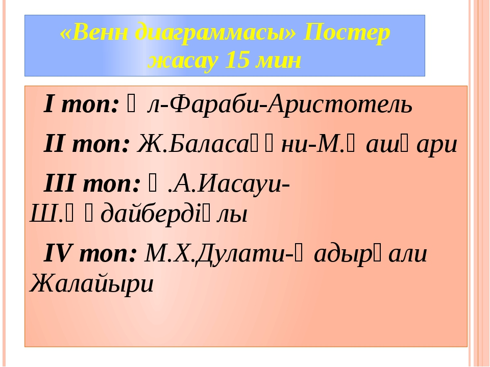 «Венн диаграммасы» Постер жасау 15 мин I топ: Әл-Фараби-Аристотель II топ: Ж....