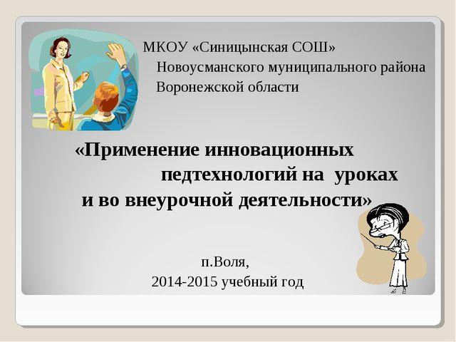 МКОУ «Синицынская СОШ» Новоусманского муниципального района Воронежской обла...