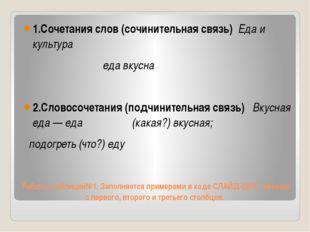 Работа с таблицей№1. Заполняется примерами в ходе СЛАЙД-ШОУ, начиная с первог
