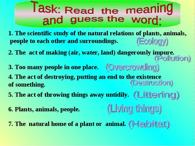 1. The scientific study of the natural relations of plants, animals, people t...