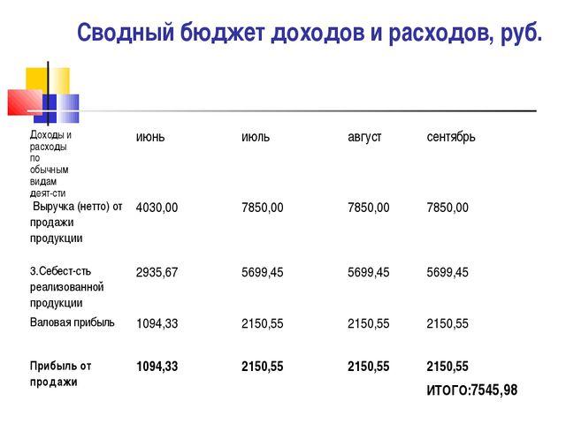 Сводный бюджет доходов и расходов, руб. Доходы и расходы по обычным видам дея...