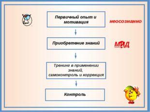 Приобретение знаний Первичный опыт и мотивация Тренинг в применении знаний,