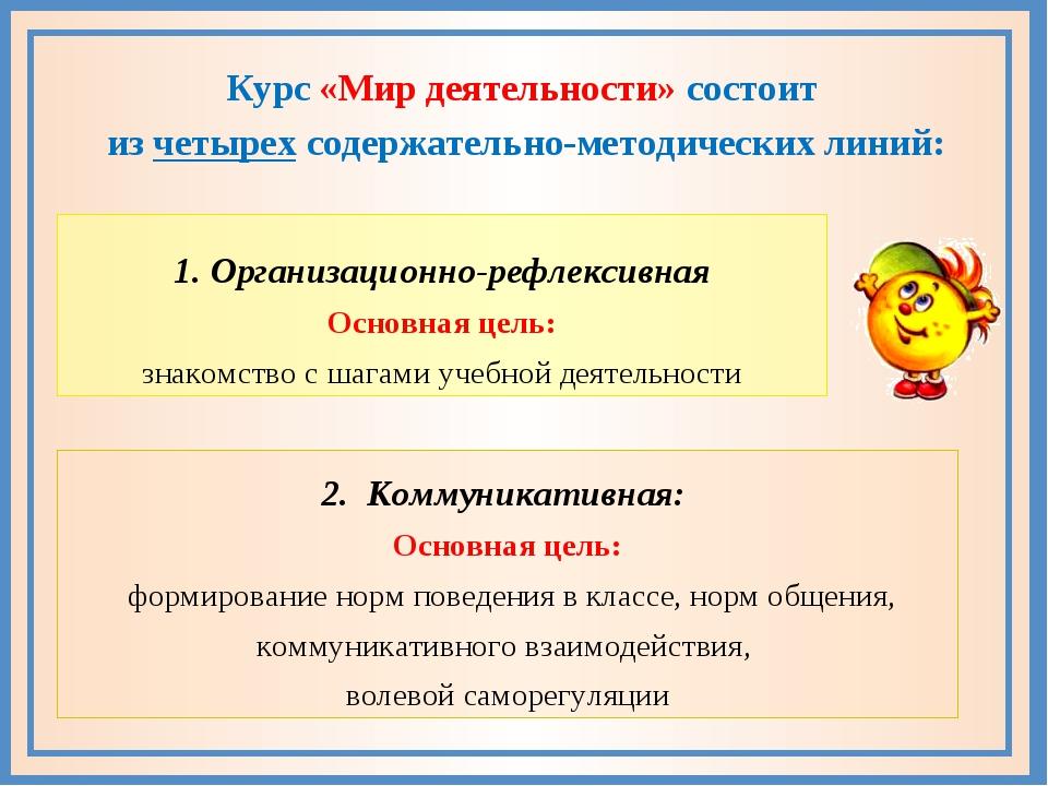 1. Организационно-рефлексивная Основная цель: знакомство с шагами учебной де...