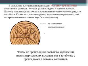 В результате высушивания происходит УСУШКА ДРЕВЕСИНЫ — уменьшение размеров. У