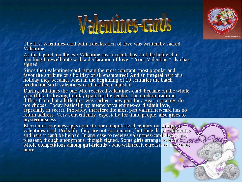 The first valentines-card with a declaration of love was written by sacred V...