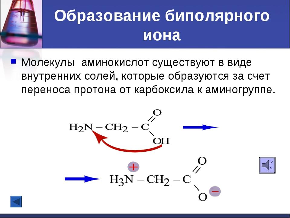 Образование биполярного иона Молекулы аминокислот существуют в виде внутренни...