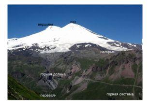 вершина пик горная долина нагорье- горная система перевал-