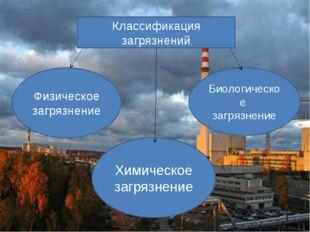Классификация загрязнений Физическое загрязнение Биологическое загрязнение Хи