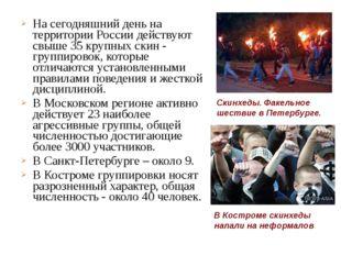 На сегодняшний день на территории России действуют свыше 35 крупных скин - гр