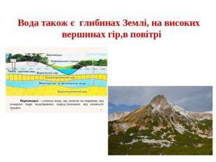 Вода також є глибинах Землі, на високих вершинах гір,в повітрі