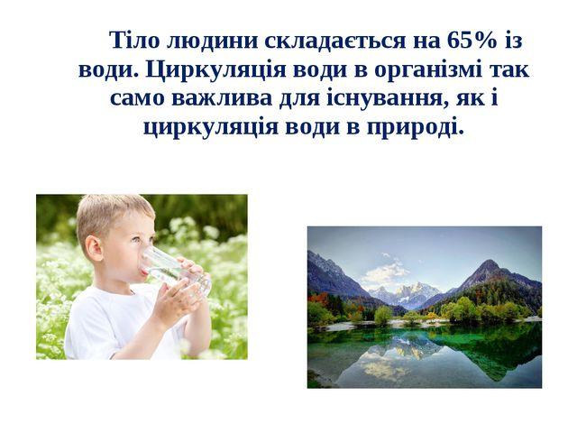 Тіло людини складається на 65% із води. Циркуляція води в організмі так само...
