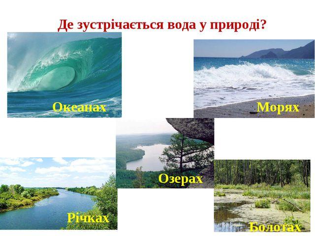 Де зустрічається вода у природі? Океанах Морях Річках Озерах Болотах