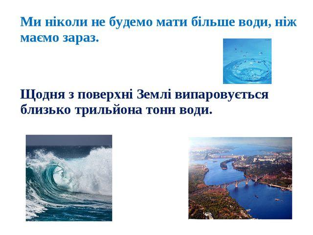 Ми ніколи не будемо мати більше води, ніж маємо зараз. Щодня з поверхні Землі...