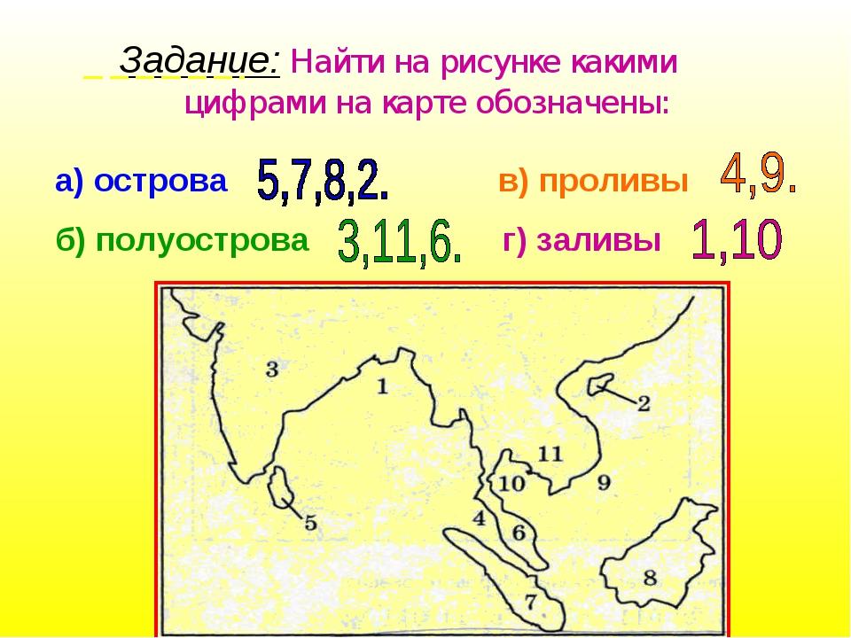 Задание: Найти на рисунке какими  цифрами на карте обозначены: а) острова в)...