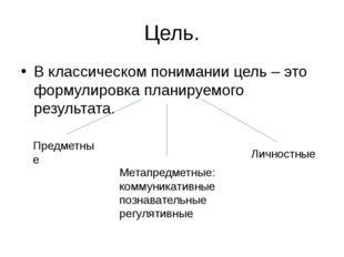 Цель. В классическом понимании цель – это формулировка планируемого результат