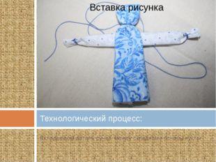 Вкладываем деталь ручек между складками основы куклы Технологический процесс: