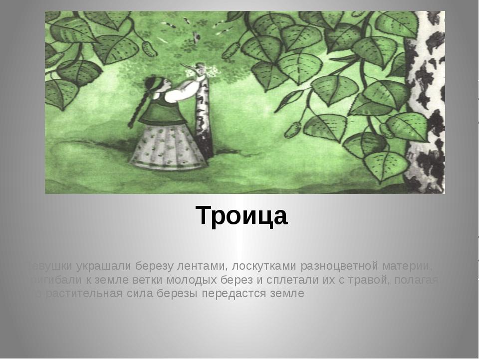 Троица  Девушки украшали березу лентами, лоскутками разноцветной материи, пр...