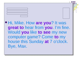 Hi, Mike. How are you? It was great to hear from you. I'm fine. Would you li