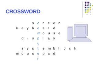 CROSSWORD screen keyboard mouse display u