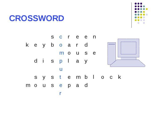 CROSSWORD screen keyboard mouse display u...
