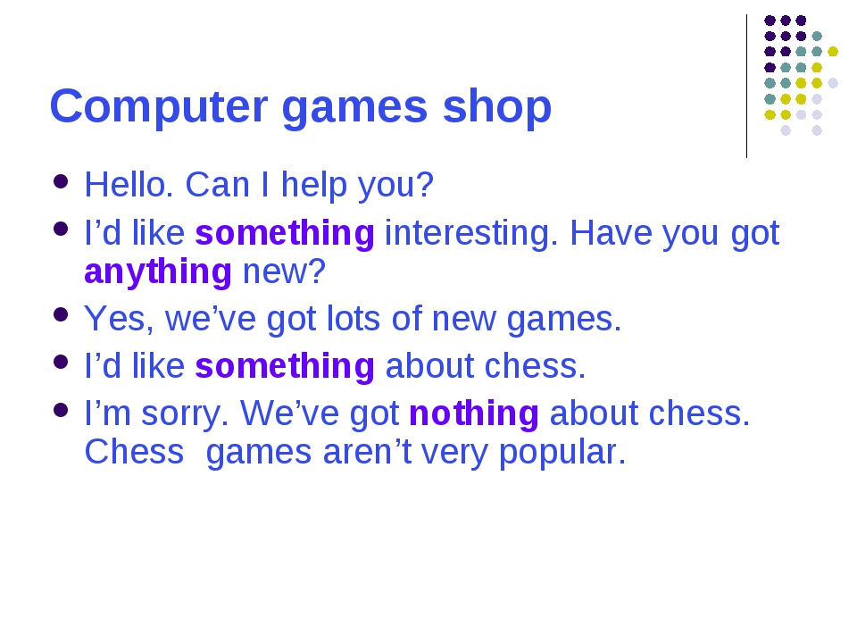 Computer games shop Hello. Can I help you? I'd like something interesting. Ha...