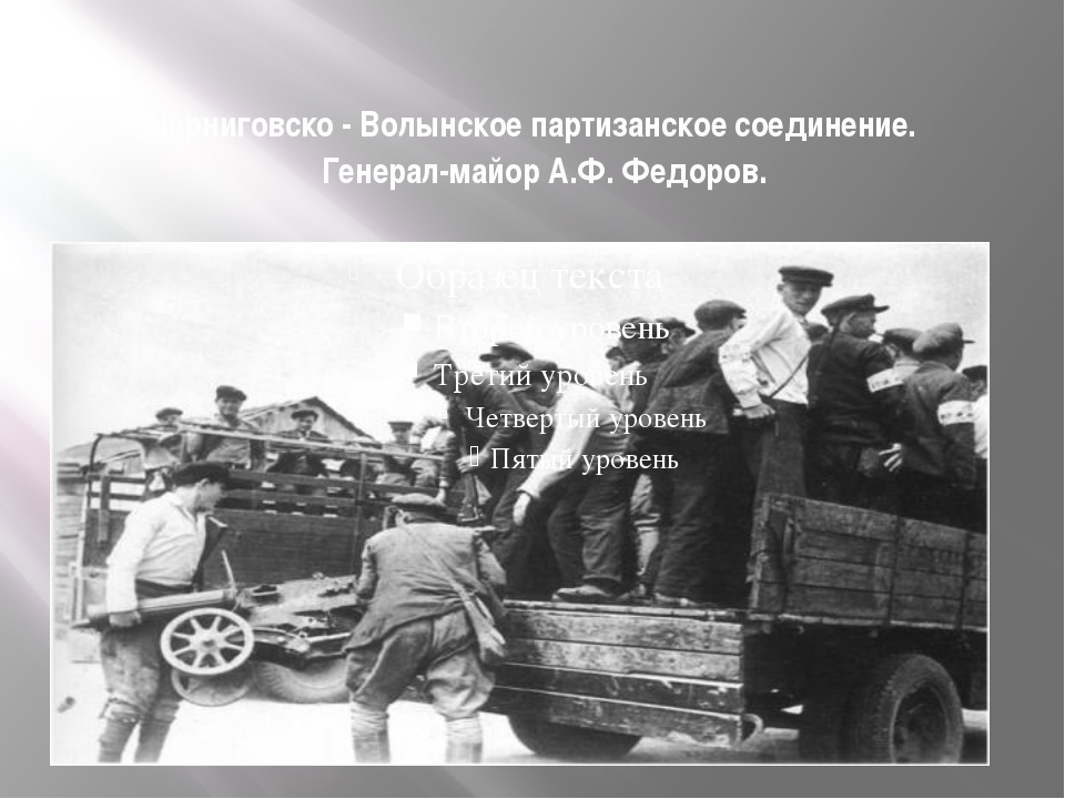 Черниговско - Волынское партизанское соединение. Генерал-майор А.Ф. Федоров.