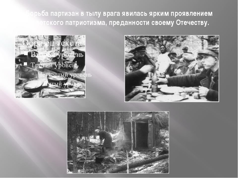 Борьба партизан в тылу врага явилась ярким проявлением советского патриотизма...