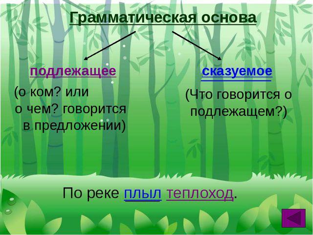Грамматическая основа подлежащее сказуемое (о ком? или о чем? говорится в пре...