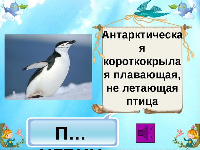 П…НГВИН Антарктическая короткокрылая плавающая, не летающая птица