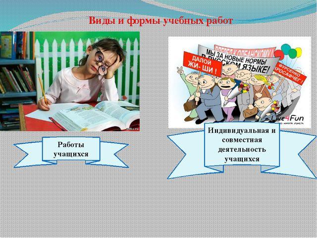 Виды и формы учебных работ Работы учащихся Индивидуальная и совместная деятел...