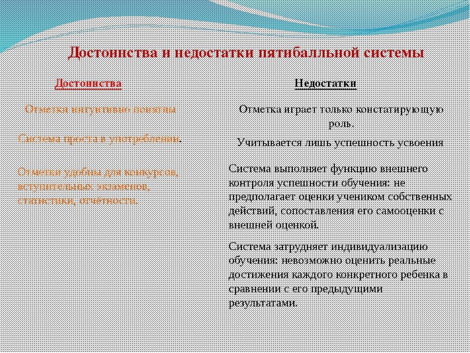 Достоинства и недостатки пятибалльной системы Достоинства Недостатки Отметки...