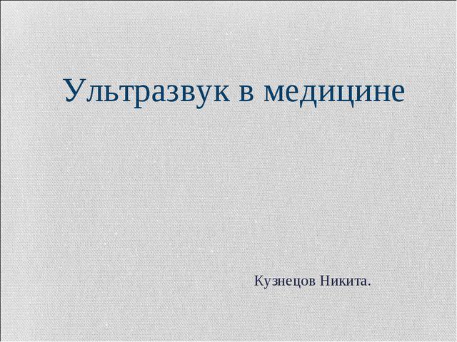 Ультразвук в медицине Кузнецов Никита.