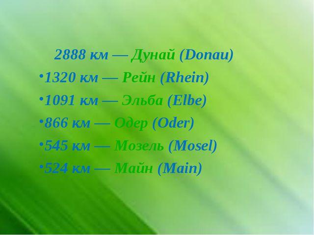 2888 км—Дунай(Donau) 1320 км—Рейн(Rhein) 1091 км—Эльба(Elbe) 866 км...