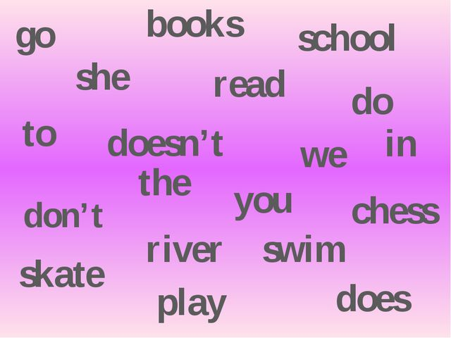 don't doesn't she read books go to school we do does play chess you skate swi...