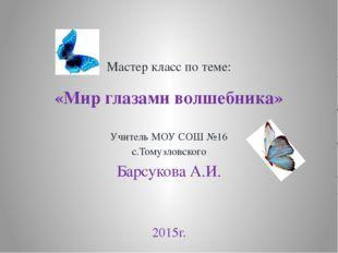 Мастер класс по теме: «Мир глазами волшебника» Учитель МОУ СОШ №16 с.Томузлов