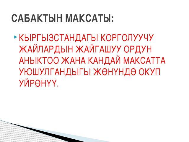 КЫРГЫЗСТАНДАГЫ КОРГОЛУУЧУ ЖАЙЛАРДЫН ЖАЙГАШУУ ОРДУН АНЫКТОО ЖАНА КАНДАЙ МАКСАТ...