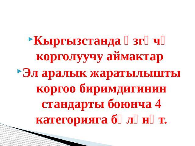 Кыргызстанда өзгөчө корголуучу аймактар Эл аралык жаратылышты коргоо биримди...