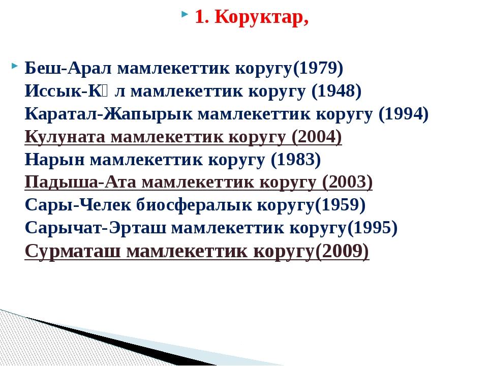 1. Коруктар, Беш-Арал мамлекеттик коругу(1979) Иссык-Көл мамлекеттик коругу (...