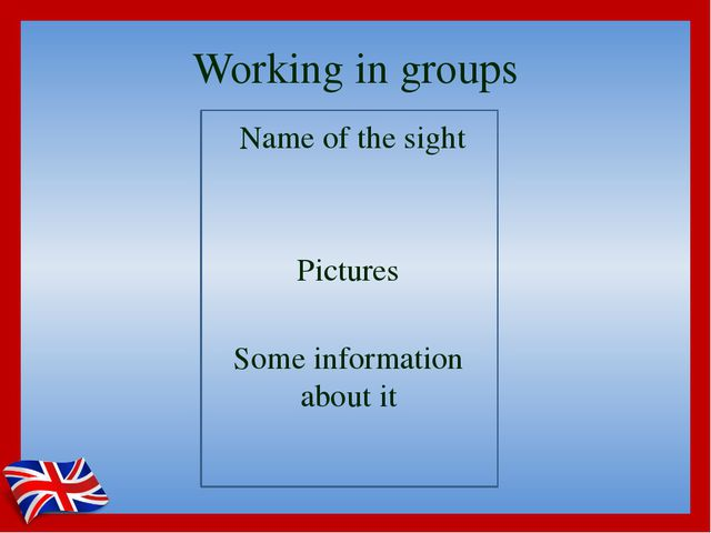 Working in groups Name of the sight Pictures Some information about it