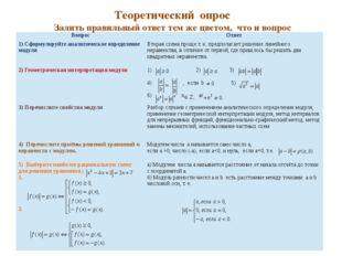 Теоретическийопрос Залить правильный ответ тем же цветом, что и вопрос Вопро