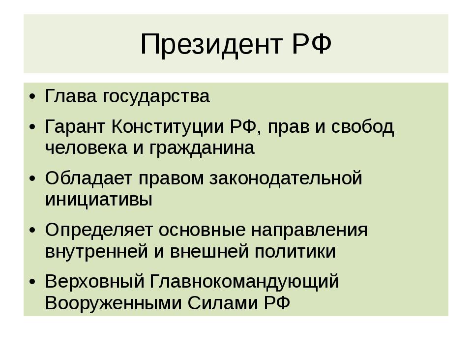 Президент РФ Глава государства Гарант Конституции РФ, прав и свобод человека...