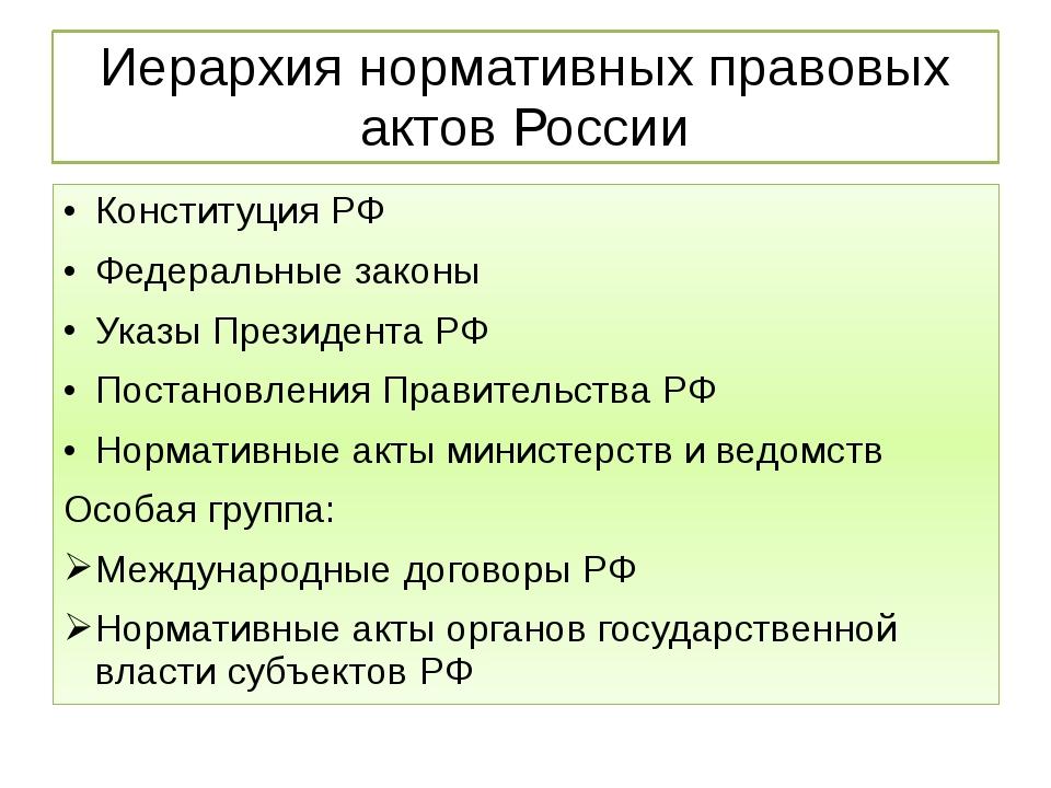 Иерархия нормативных правовых актов России Конституция РФ Федеральные законы...
