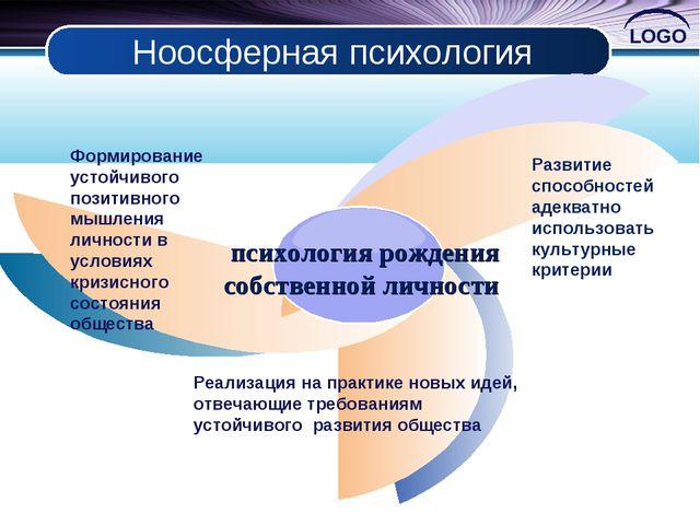 Ноосферная психология Формирование устойчивого позитивного мышления личности...