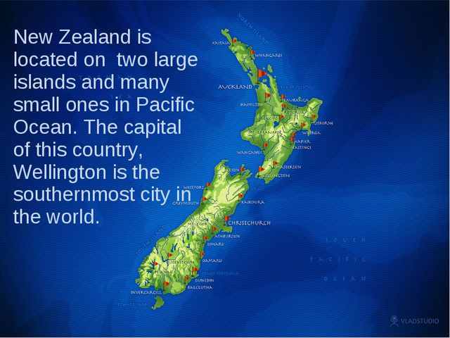 New Zealand is located on two large islands and many small ones in Pacific Oc...
