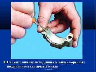 Снимите нижние вкладыши с крышек коренных подшипников коленчатого вала Бабич