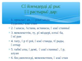1. орналасқан, құрлығында, Еуразия,Қазақстан 2. қаласы, Астана, астанасы, Қаз