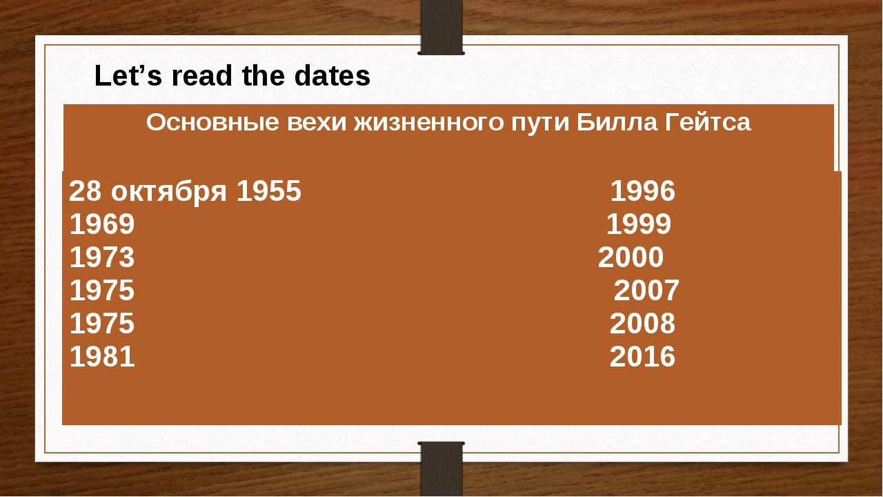 Let's read the dates Основные вехи жизненного пути Билла Гейтса 1990 1996 1...