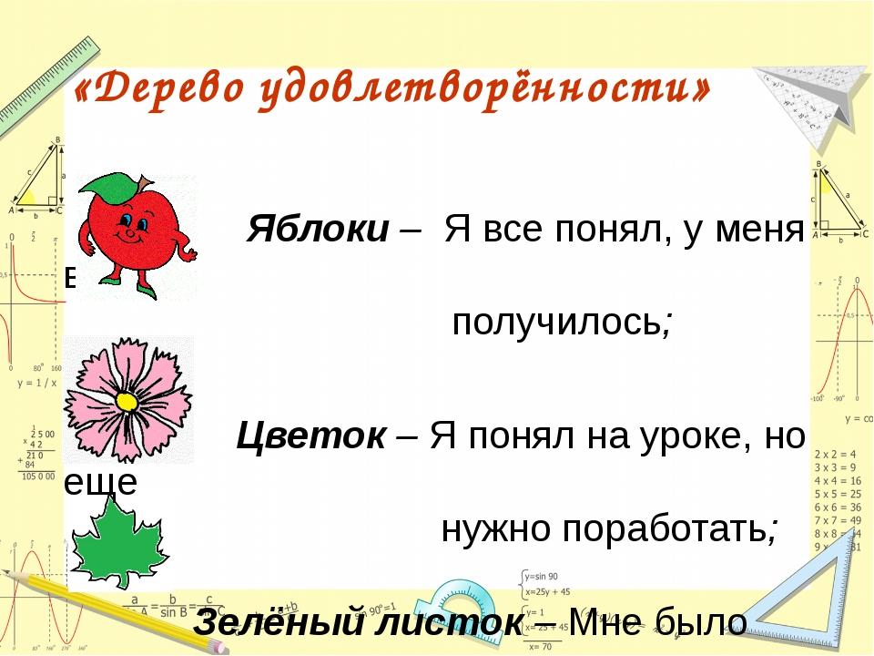 Яблоки – Я все понял, у меня все получилось; Цветок – Я понял на уроке, но е...
