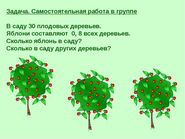 Задача. Самостоятельная работа в группе В саду 30 плодовых деревьев. Яблони с...